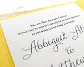 The Mimosa Suite - Classic Letterpress Wedding Invitation Suite Navy Blue, Yellow Pocket Enclosure, Simple, Timeless, Script, Modern