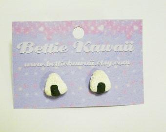 Onigiri Earrings Polymer Clay Kawaii Sushi Charm Rice Ball Studs Miniature Food Japanese Jewellery Lolita Geeky Jewelry Accessory