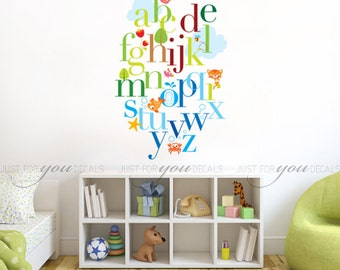 Alphabet Wall Decal - Nursery Wall Decal - Playroom Wall Decal - Animal Wall Decal - Play Room Wall Decal - Wall Stickers - 01-0012