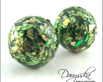 Green Polymer Clay Earrings with Glitters