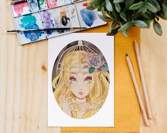 Rapunzel Art Print, Disney Princess, Watercolor