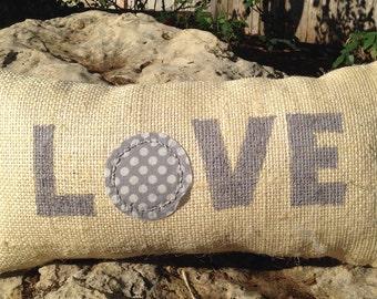 Upcycled coffee sack pillow