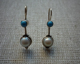 Vintage Sterling Silver Turquoise Faux Pearl Dangling Earrings