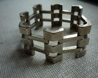 Fabulous Vintage Chunky Wide Silver Tone Link Bracelet