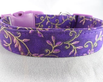 Gold Leaf Scroll on Purple Dog Collar