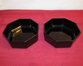 ARCOROC OCTIME BOWLS Black Set of 2 Octagonal Bowls Made in France