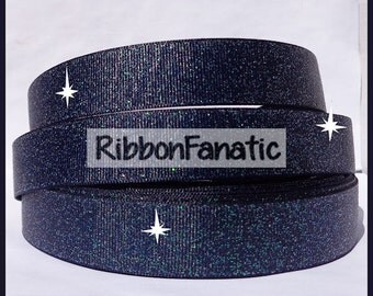 "5 yds 7/8"" Navy Blue Sparkle Solid Color Glitter Grosgrain Ribbon"