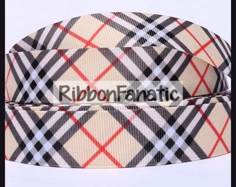 "5 yds 3/8"" 5/8"" 7/8"" and 1.5""  Plaid Grosgrain Ribbon"