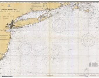Approaches to New York -1933 Nautical Map Reprint General Chart 1108  Nantucket Shoals