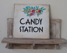 personalized beach wedding sign, personalized wedding wooden sign, candy station, hand-painted, shabby chic