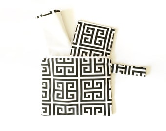 Diaper Clutch Set: 3 piece w/diaper/changing pad and wipes case- black and white towers