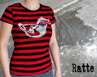 Rat, T shirt for women, red and black stripes. 100% cotton.