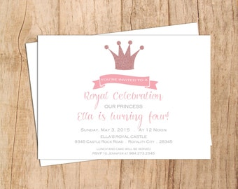 Glitter Crown Elegant Modern Princess Birthday Invitation .Girl Birthday 1st 2nd 3rd 4th 5th . Simple .JPEG or PDF File .Print Yourself .