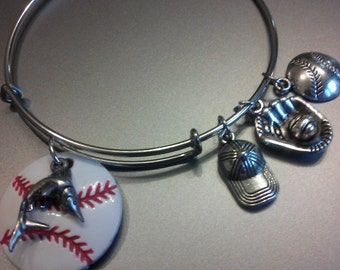 Miami Florida Marlins baseball adjustable silver charm bracelet