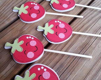 Strawberry Cupcake Toppers, set of 12