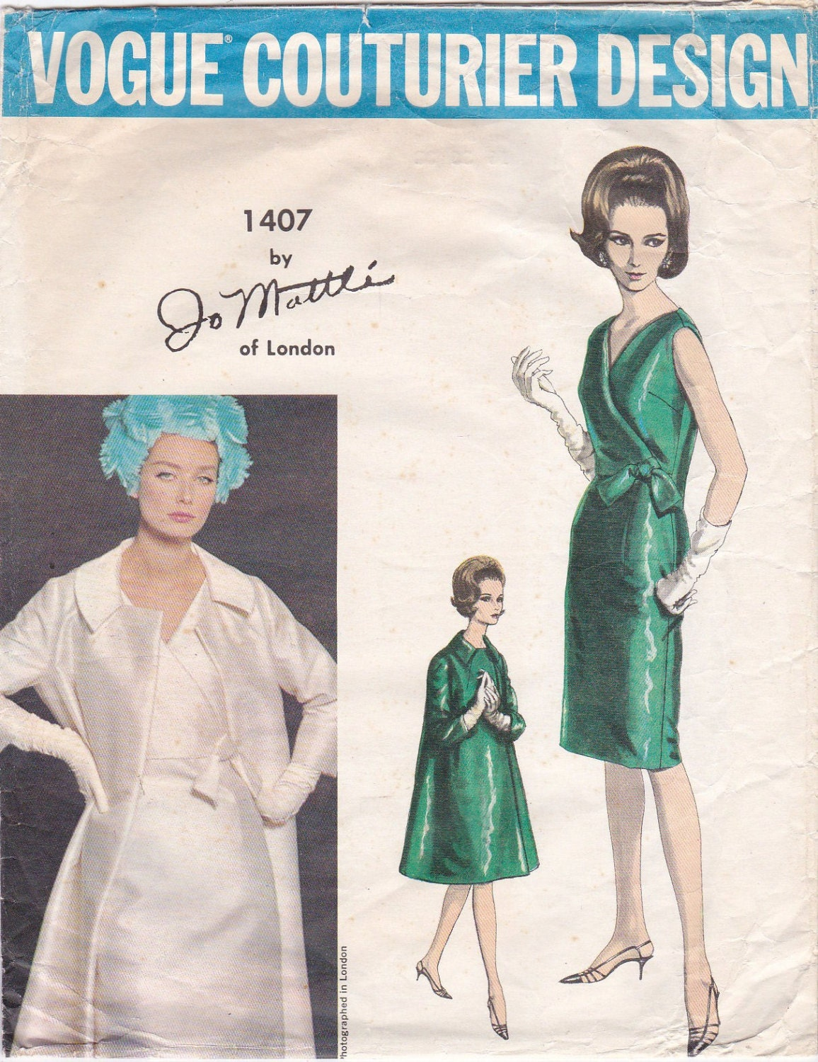 1960s Jo Mattli dress and coat pattern feat. Tania Mallet, Vogue Couturier Design 1407