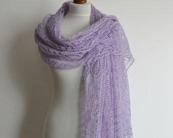 Lace shawl - hand knitted lavender shawl - rectangular  - merino  - handmade