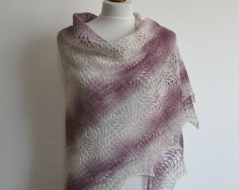 Lace shawl -  hand knitted heather gray pink cream shawl  - triangular - wool - handmade