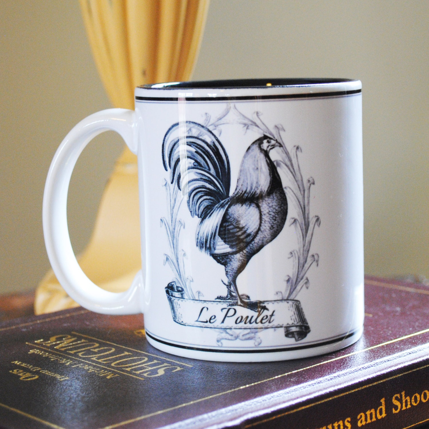 ceramic mug 11 oz french le poulet chicken rooster design. Black Bedroom Furniture Sets. Home Design Ideas