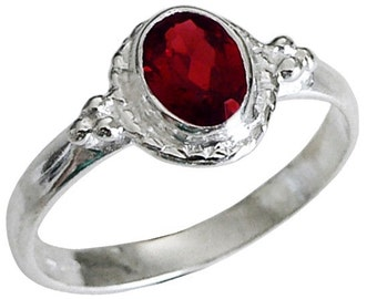 Genuine Natural Red Garnet Ring Solid 925 Sterling Silver Ring ~ Size 6.5