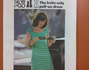 Butterick 3634 Knit Pull-On Dress Sew & Go Easy Sewing Pattern 1970s 70s Size 10