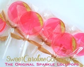 Hot Pink Lollipops with Gold Dipped Edge, Pink Lollipops, Pink Wedding, Wedding Favors, Shabby Chic, Pink and Gold -Set of Six