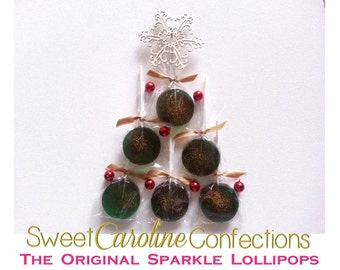Christmas Lollipops, Green Holiday Candy, Hard Candy Lollipops, Green Party Favors, Lollipops, Sweet Caroline Confections-SIX LOLLIPOPS