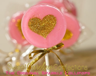 Bubblegum Pink and Gold Wedding Favors, Heart Lollipops, Gold Favors, Gold Wedding Favor, Lollipops, Sweet Caroline Confections -Set of Six