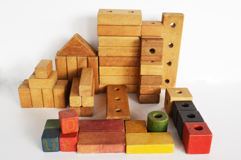 Wooden toy blocks s wood vintage