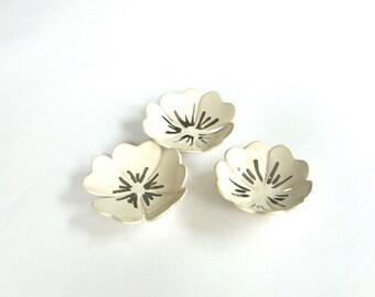 White Ceramic Ring Holder,  Silver Jewelry Dish, Ring Dish, Flower shape, Jewelry Dish , Ring Bowl, wedding ring dish
