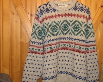 Mens Vtg Wool Fair of Isle 80s Ski Sweater XL Md/ In the USA  Old School American Eagle great Gray red green free ship