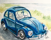 "Car painting, Watercolors paintings original, Watercolor painting, Classic car painting - Old Beattle car 9""x12"""