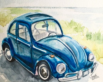 "Car painting, Watercolors paintings original, Watercolor painting, Classic car painting - Old Beattle car 9""x12"""