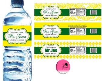 Retirement Water Bottle Label, Baby Shower, Party Favors  - Digital File
