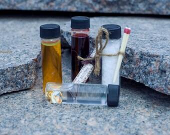 Hunting Kit for Supernatural Fans - Dead Man's Blood, Holy Water, Rock Salt, Holy Oil, Goofer Dust Set Vampire Diaries Walking Dead