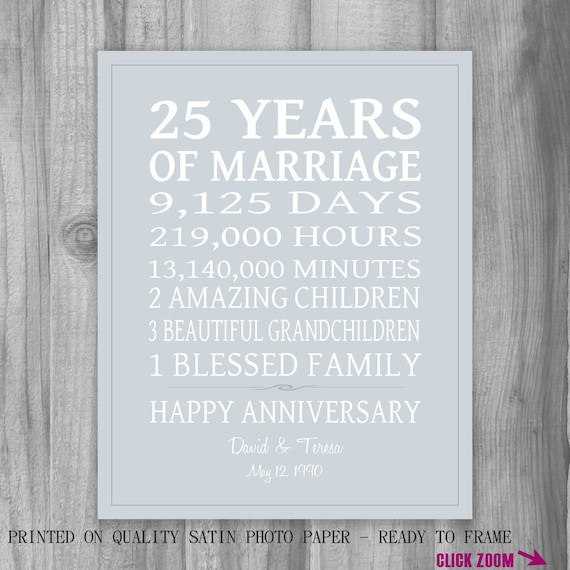 Unique 25th Wedding Anniversary Gift Ideas For Parents : 25th Anniversary Gift for Parents Personalized Print Anniversary ...