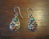 Glen Sandoval, Navajo, Sterling Drop Earrings with Turquoise and Coral