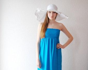 TURQUOISE STRAPLESS maxi dress ~ Tourquoise dress ~ Summer dress ~ Maxi dress ~  Long dress ~ Rayon shally  ~ Beach dress ~Open back dress