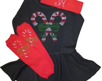 Girls / Baby / Toddler Black or White Crystal Candy Cane dress, leg warmers and Custom Headband