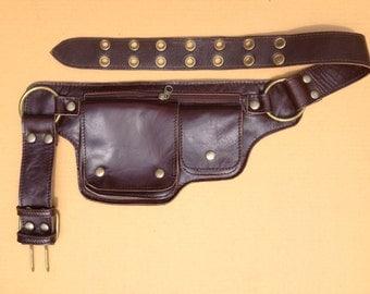 Leather Travel Belt, Utility Belt Bag, Fanny Pack, Hip Purse, Steampunk