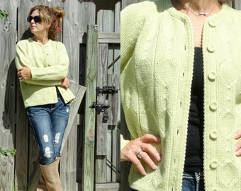 Vintage 60s Cardigan Sweater Lime Green Chunky wool handmade hand knit cable knit jumper cardi Fisherman style -  Size Small Medium