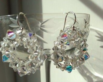 Swarovski Crystal Doughnut Earrings in Aurora Boreale or Clear Crystal