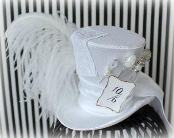 Mad Hatter Hat, Mini Top Hat, Fascinator, Mini Hat, Top Hat, Mini Hats, Tea Party Hat, Wedding Hat, Women Top Hat, White Mini Top Hat