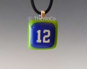 12 Necklace - Blue and Green - Seahawks Colors Hand-Made Fused Glass