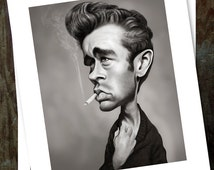 James Dean, drawing actor ,sex-symbol, star cinema, illustration, caricature, digital printing, poster 8.5 x 11 inch (21,6 x 27,9 cm)
