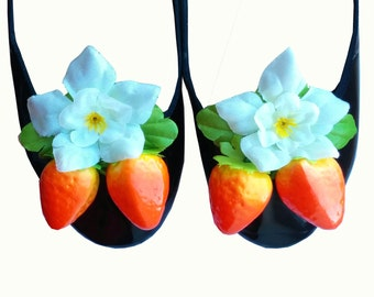 10% off with the code BDAY10  Rockabilly 50's Floral Strawberry Shoe Clips