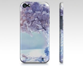 Purple Hydrangea Floral Plastic Cell Phone case, iPhone Cover, iPhone 6s 6 & 6 Plus 5, 4, Lavender Blue Samsung Galaxy Phone Case