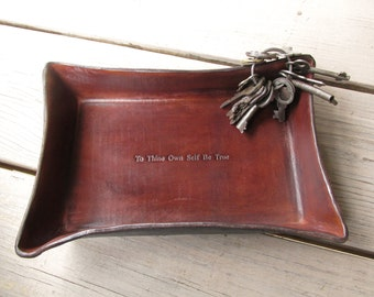 To Thine Own Self Be True Leather Desk Tray. Inspirational Quotation.