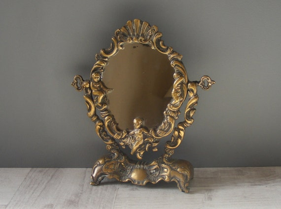 fran ais ancien petit gilt bronze miroir de courtoisie avec. Black Bedroom Furniture Sets. Home Design Ideas