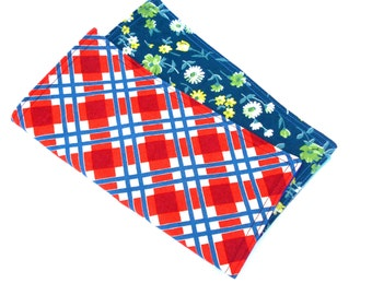 """Country Plaid and Flowers Double Sided Lunch Cloth Napkins -Set of Blue Orange Flowers 8.5x8.5"""" Napkins"""